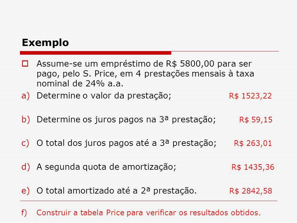 Exemplo Assume-se um empréstimo de R$ 5800,00 para ser pago, pelo S. Price, em 4 prestações mensais à taxa nominal de 24% a.a. a)Determine o valor da