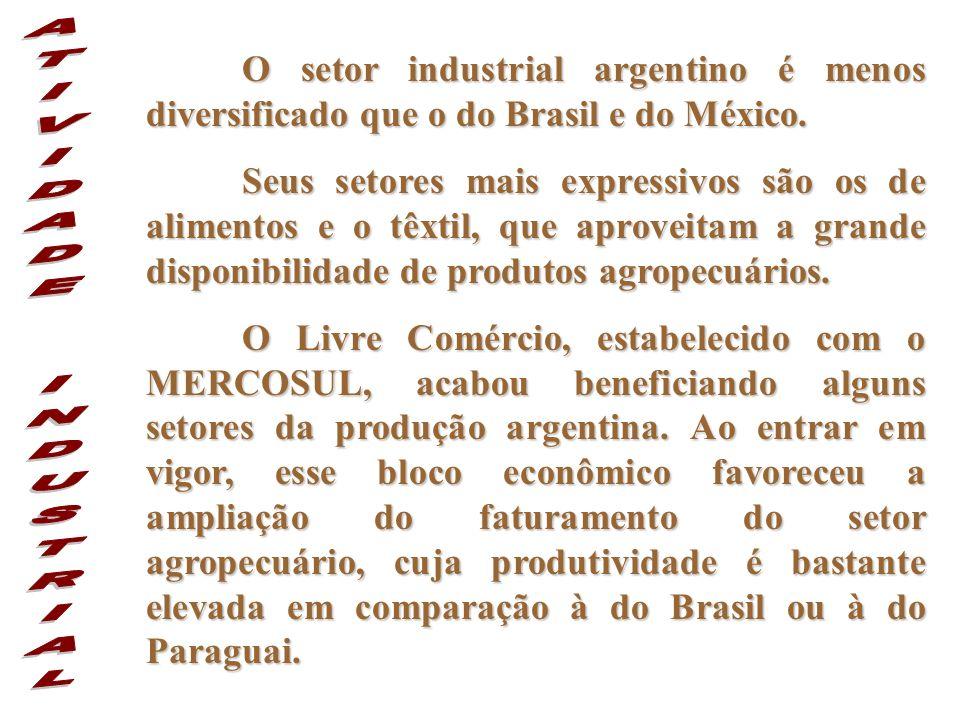 O setor industrial argentino é menos diversificado que o do Brasil e do México. Seus setores mais expressivos são os de alimentos e o têxtil, que apro