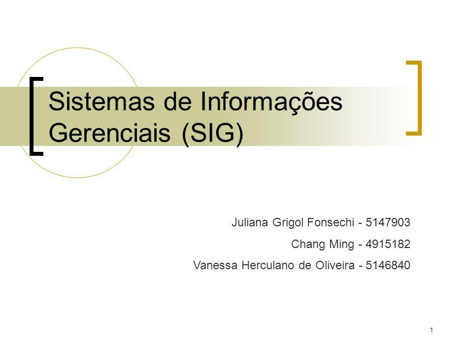 1 Sistemas de Informações Gerenciais (SIG) Juliana Grigol Fonsechi - 5147903 Chang Ming - 4915182 Vanessa Herculano de Oliveira - 5146840