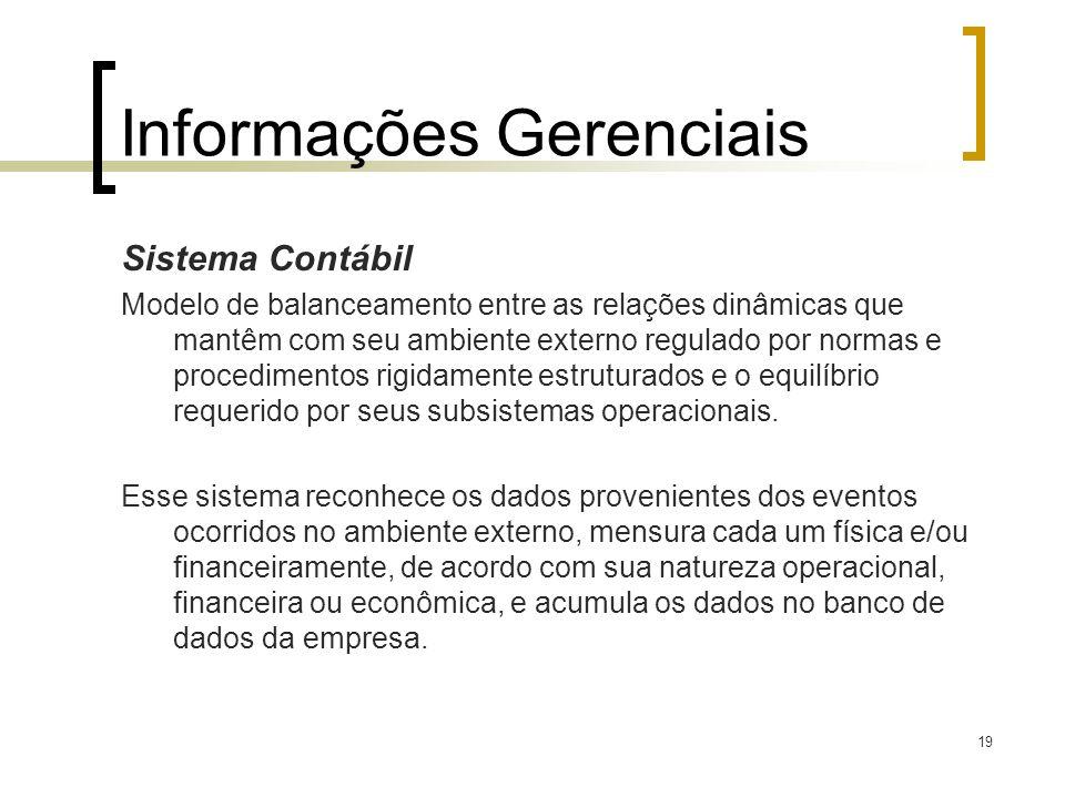 19 Informações Gerenciais Sistema Contábil Modelo de balanceamento entre as relações dinâmicas que mantêm com seu ambiente externo regulado por normas