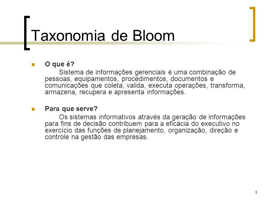 8 Taxonomia de Bloom O que é? Sistema de informações gerenciais é uma combinação de pessoas, equipamentos, procedimentos, documentos e comunicações qu