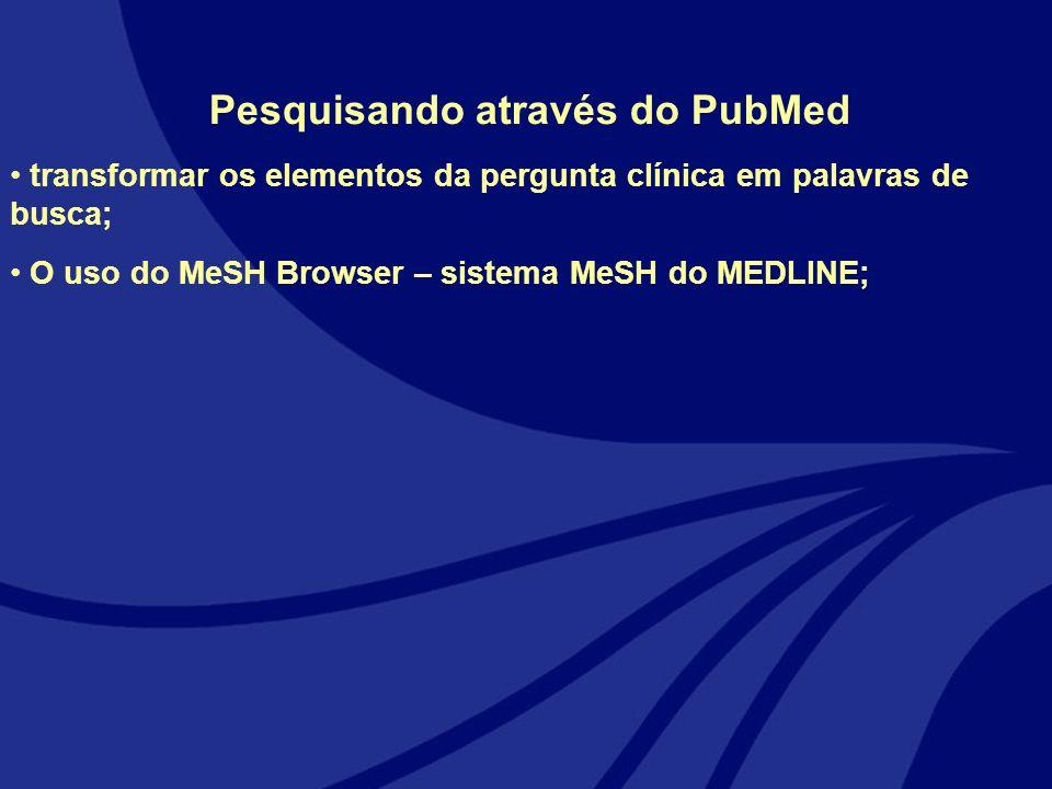 Pesquisando através do PubMed transformar os elementos da pergunta clínica em palavras de busca; O uso do MeSH Browser – sistema MeSH do MEDLINE;