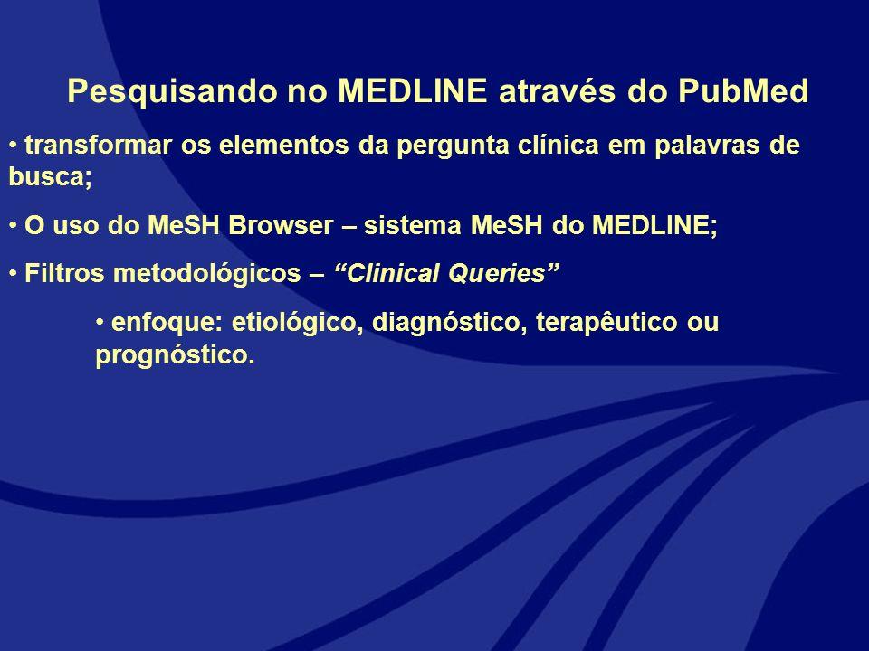 Pesquisando no MEDLINE através do PubMed transformar os elementos da pergunta clínica em palavras de busca; O uso do MeSH Browser – sistema MeSH do ME
