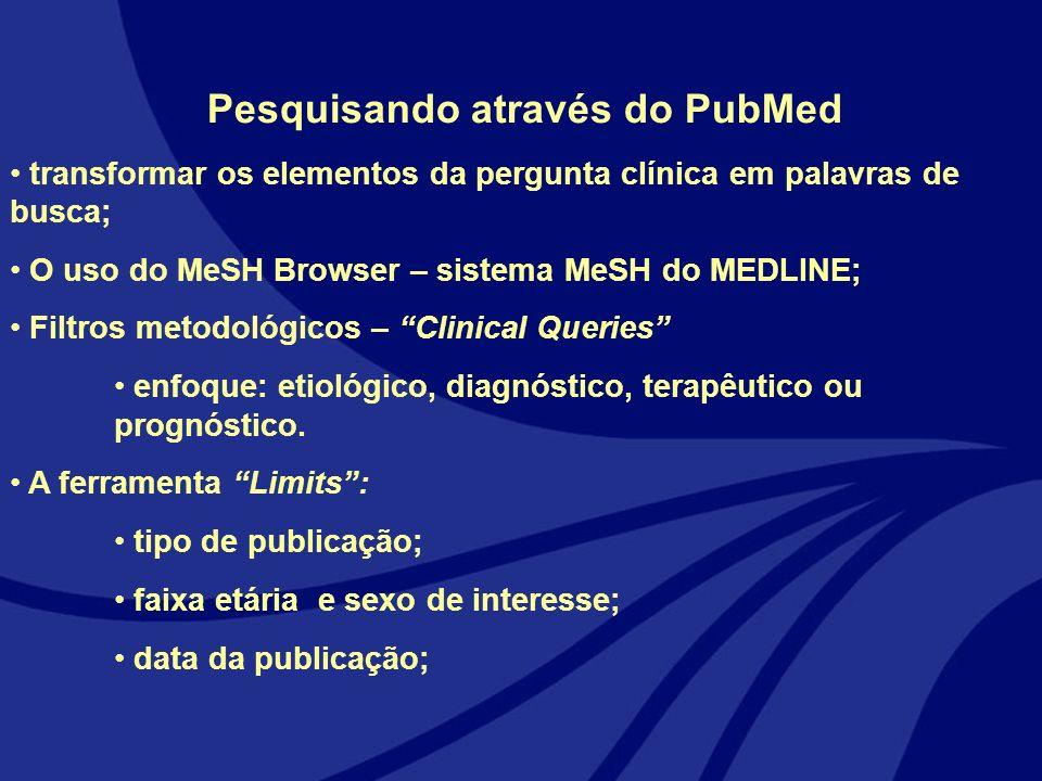 Pesquisando através do PubMed transformar os elementos da pergunta clínica em palavras de busca; O uso do MeSH Browser – sistema MeSH do MEDLINE; Filt