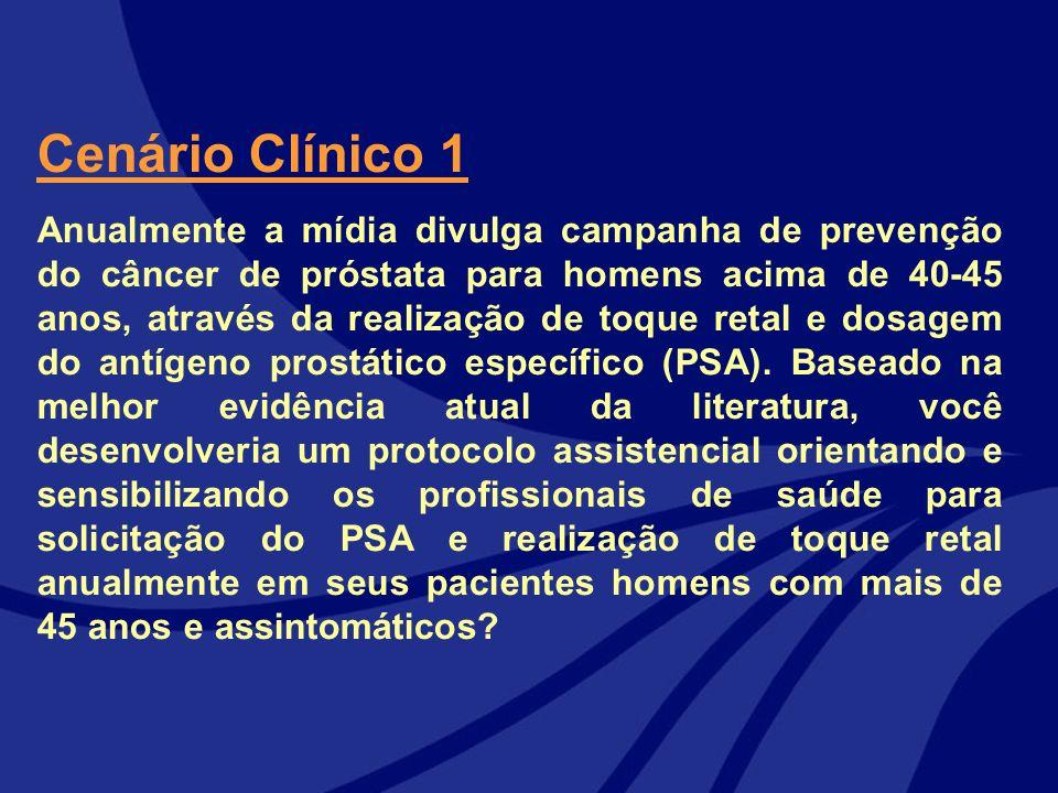 Cenário Clínico 1 Anualmente a mídia divulga campanha de prevenção do câncer de próstata para homens acima de 40-45 anos, através da realização de toq