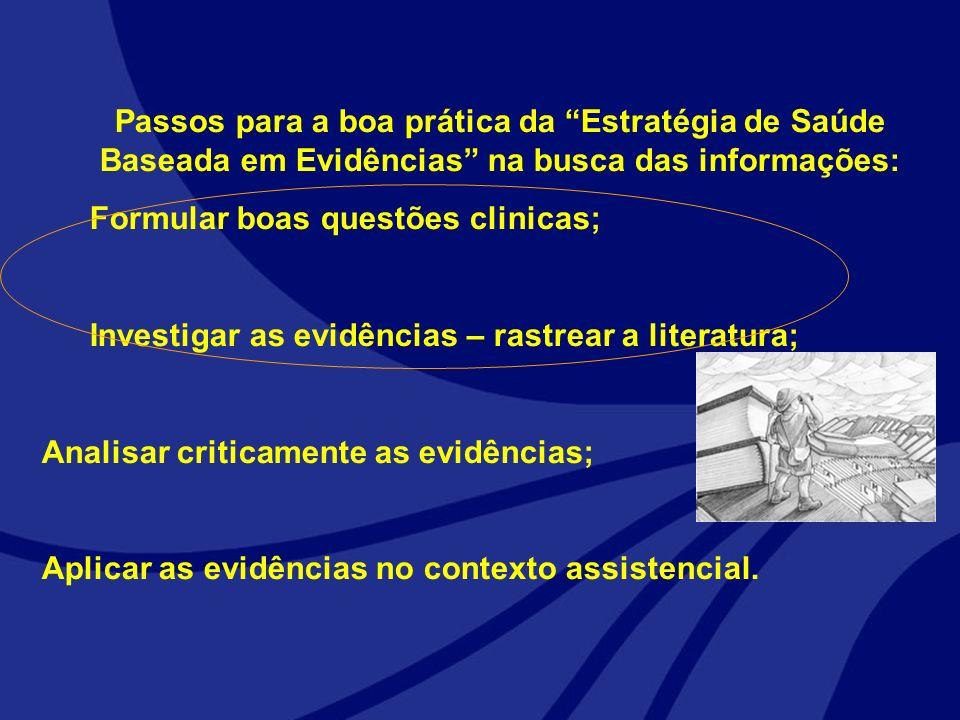 Passos para a boa prática da Estratégia de Saúde Baseada em Evidências na busca das informações: Formular boas questões clinicas; Investigar as evidên