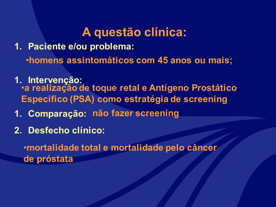 A questão clínica: 1.Paciente e/ou problema: 1.Intervenção: 1.Comparação: 2.Desfecho clínico: homens assintomáticos com 45 anos ou mais; a realização