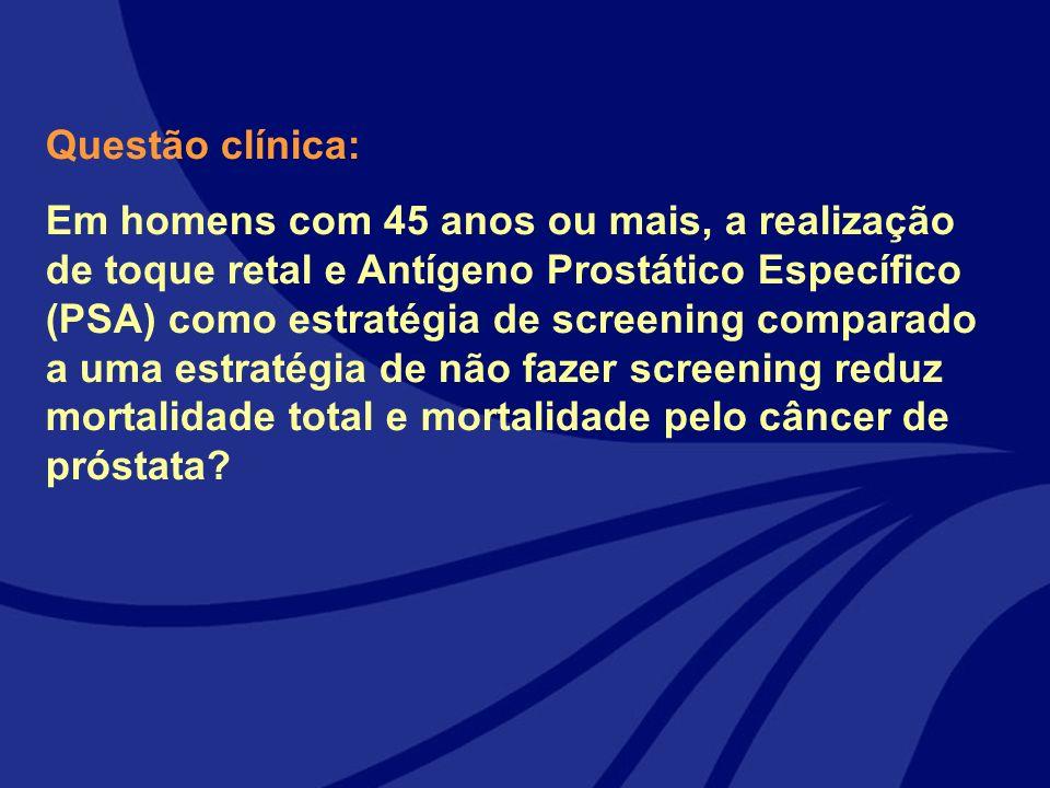Questão clínica: Em homens com 45 anos ou mais, a realização de toque retal e Antígeno Prostático Específico (PSA) como estratégia de screening compar
