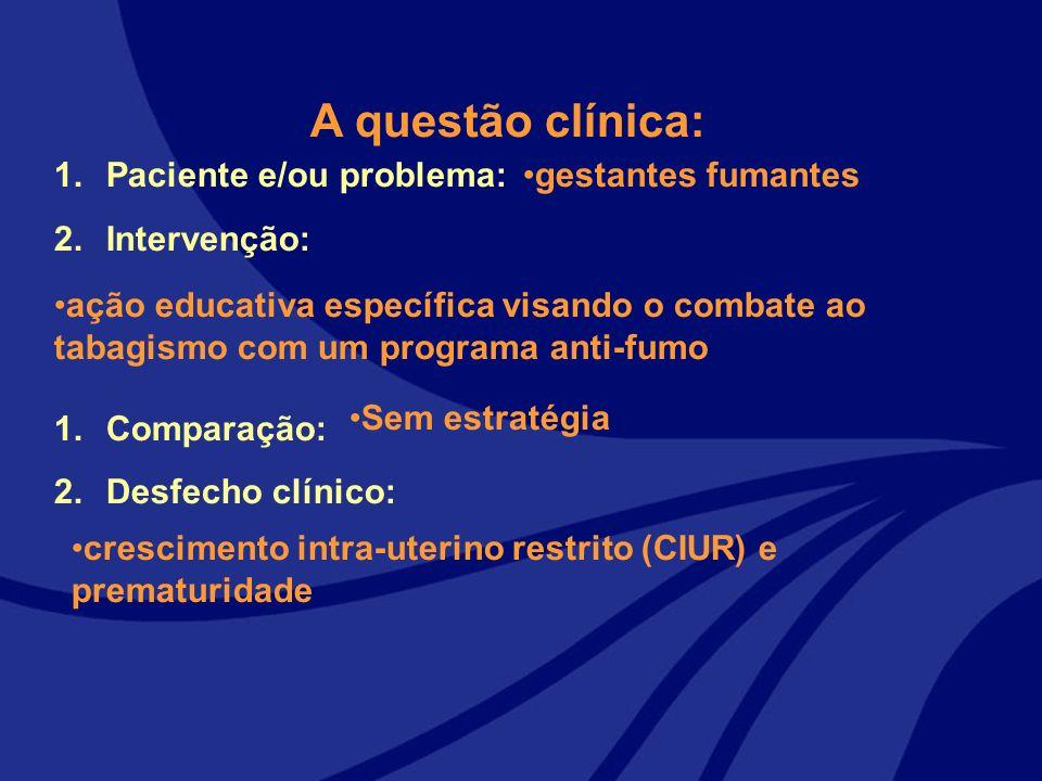 1.Paciente e/ou problema: 2.Intervenção: 1.Comparação: 2.Desfecho clínico: A questão clínica: gestantes fumantes ação educativa específica visando o c