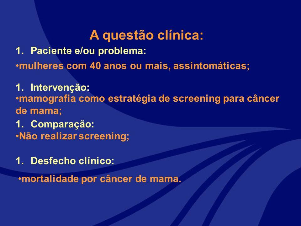 1.Paciente e/ou problema: 1.Intervenção: 1.Comparação: 1.Desfecho clínico: A questão clínica: mulheres com 40 anos ou mais, assintomáticas; mamografia