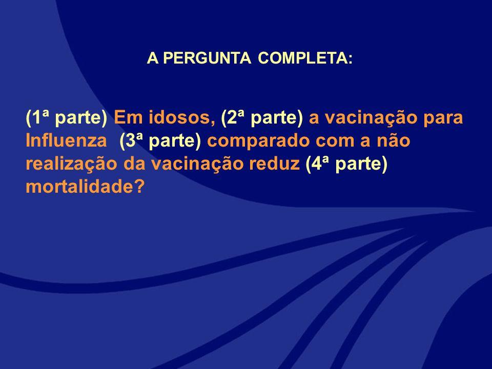 A PERGUNTA COMPLETA: (1ª parte) Em idosos, (2ª parte) a vacinação para Influenza (3ª parte) comparado com a não realização da vacinação reduz (4ª part