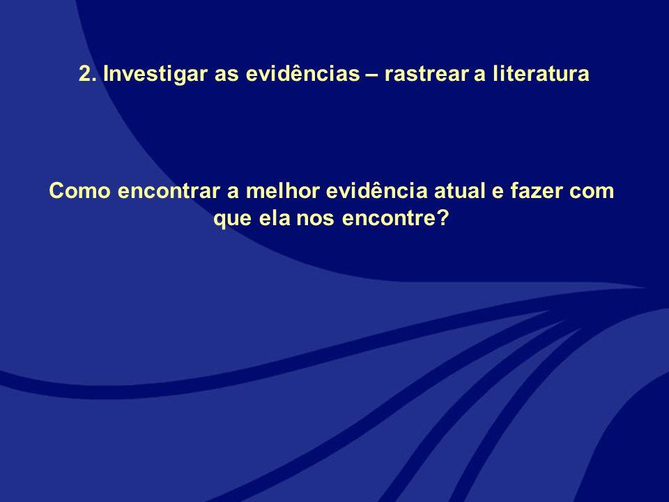 2. Investigar as evidências – rastrear a literatura Como encontrar a melhor evidência atual e fazer com que ela nos encontre?