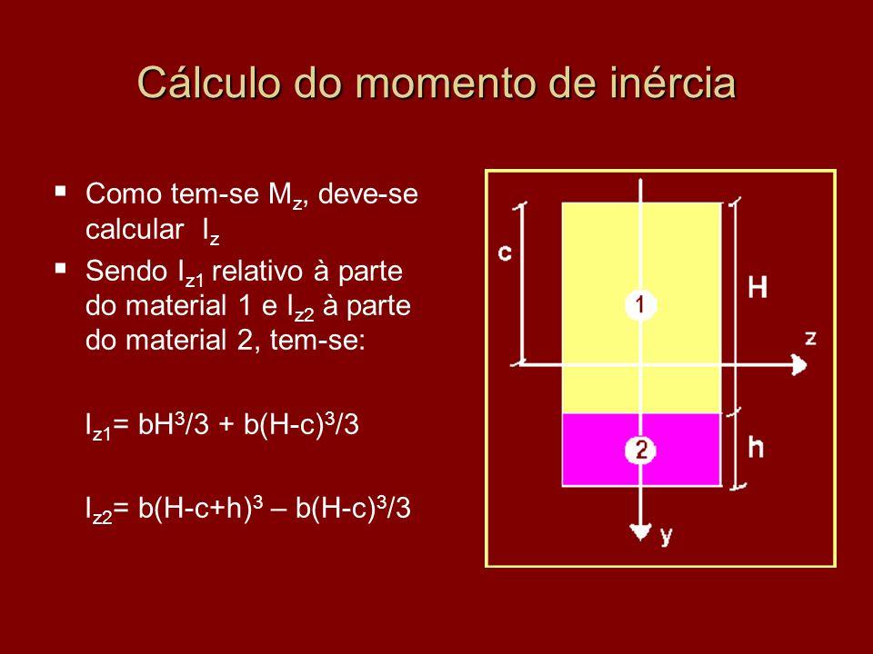 Cálculo do momento de inércia Como tem-se M z, deve-se calcular I z Sendo I z1 relativo à parte do material 1 e I z2 à parte do material 2, tem-se: I