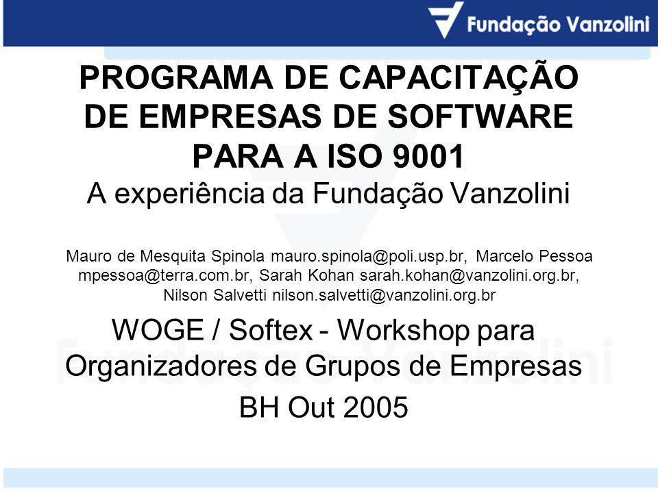 Capacitação de empresas de software para a ISO 9001 Fundação Carlos Alberto Vanzolini ITS – Instituto de Tecnologia de Software www.vanzolini.org.br www.its.org.br dti@vanzolini.org.br