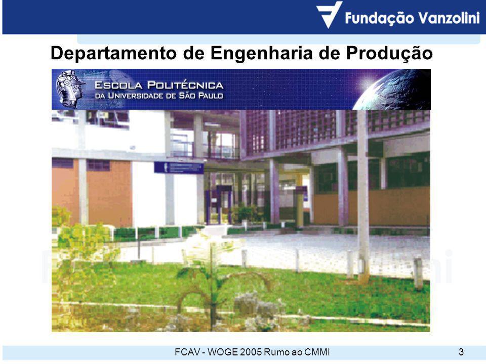 FCAV - WOGE 2005 Rumo ao CMMI14 Resultados principais 4 empresas certificadas ISO 9001 A necessidade de acompanhamento mais próximo