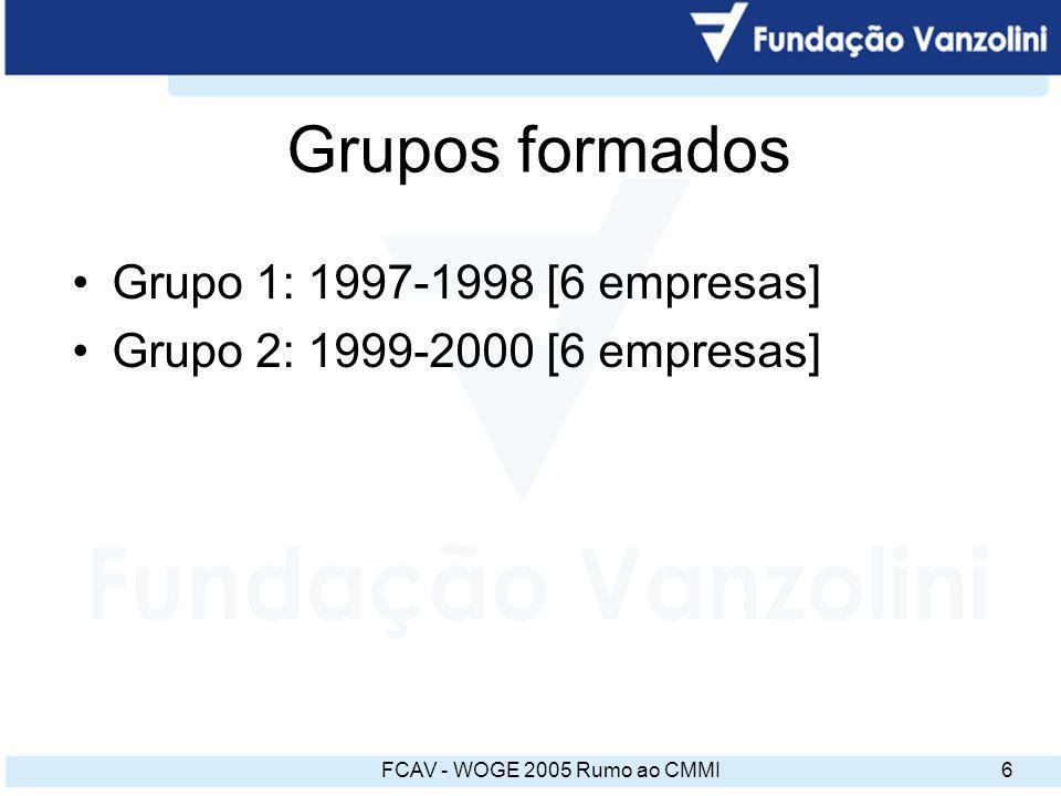 FCAV - WOGE 2005 Rumo ao CMMI7 Bases do programa ISO 9001 – base fundamental e foco da implementação SW-CMM – práticas de nível 2, em apoio à ISO 9001 Grupo de empresas.