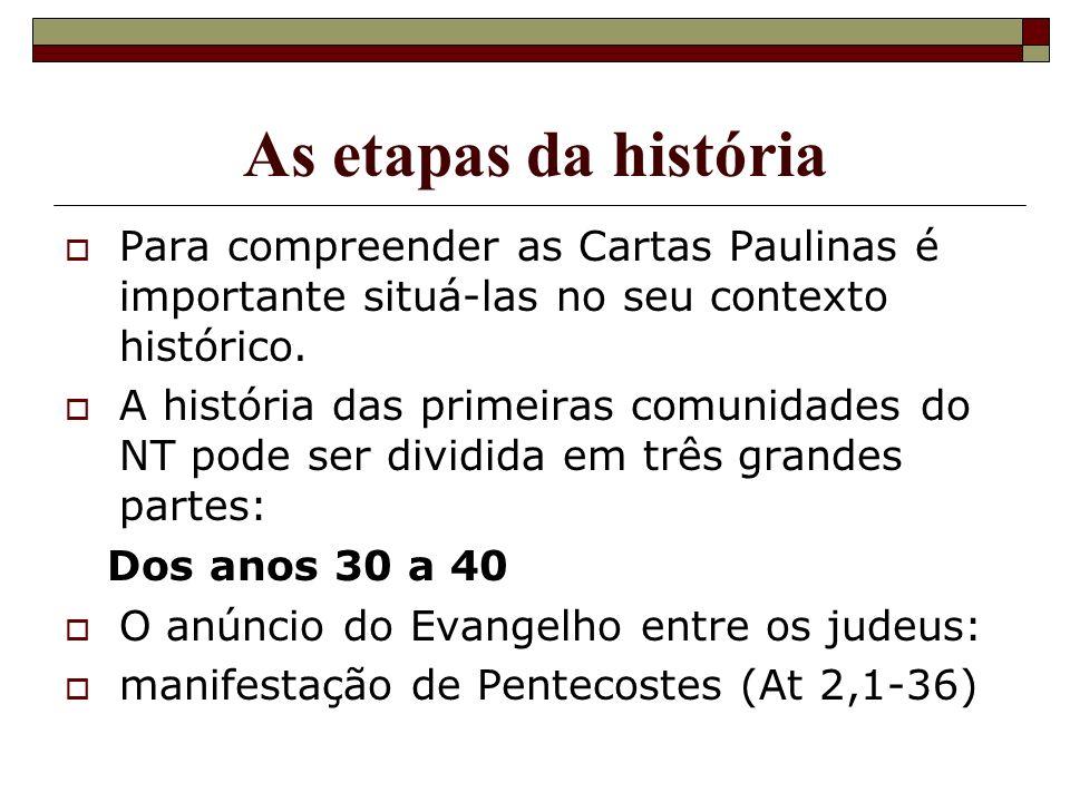As etapas da história Para compreender as Cartas Paulinas é importante situá-las no seu contexto histórico. A história das primeiras comunidades do NT
