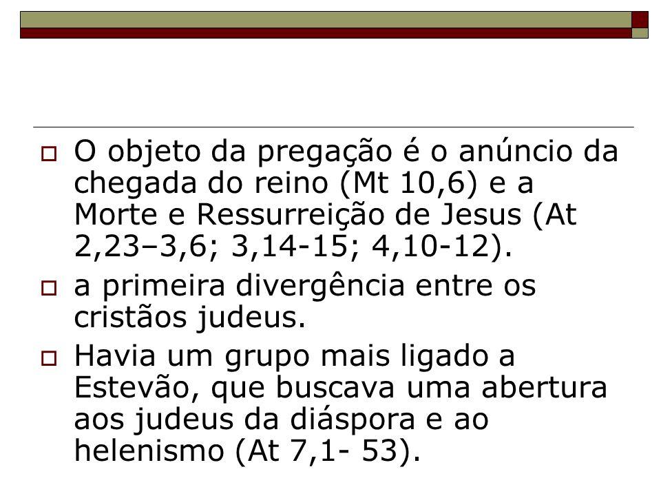 O objeto da pregação é o anúncio da chegada do reino (Mt 10,6) e a Morte e Ressurreição de Jesus (At 2,23–3,6; 3,14-15; 4,10-12). a primeira divergênc