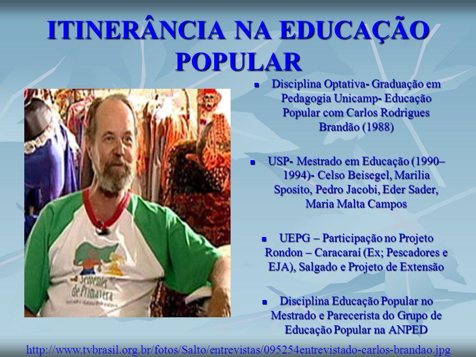 ITINERÂNCIA NA EDUCAÇÃO POPULAR Disciplina Optativa- Graduação em Pedagogia Unicamp- Educação Popular com Carlos Rodrigues Brandão (1988) Disciplina O