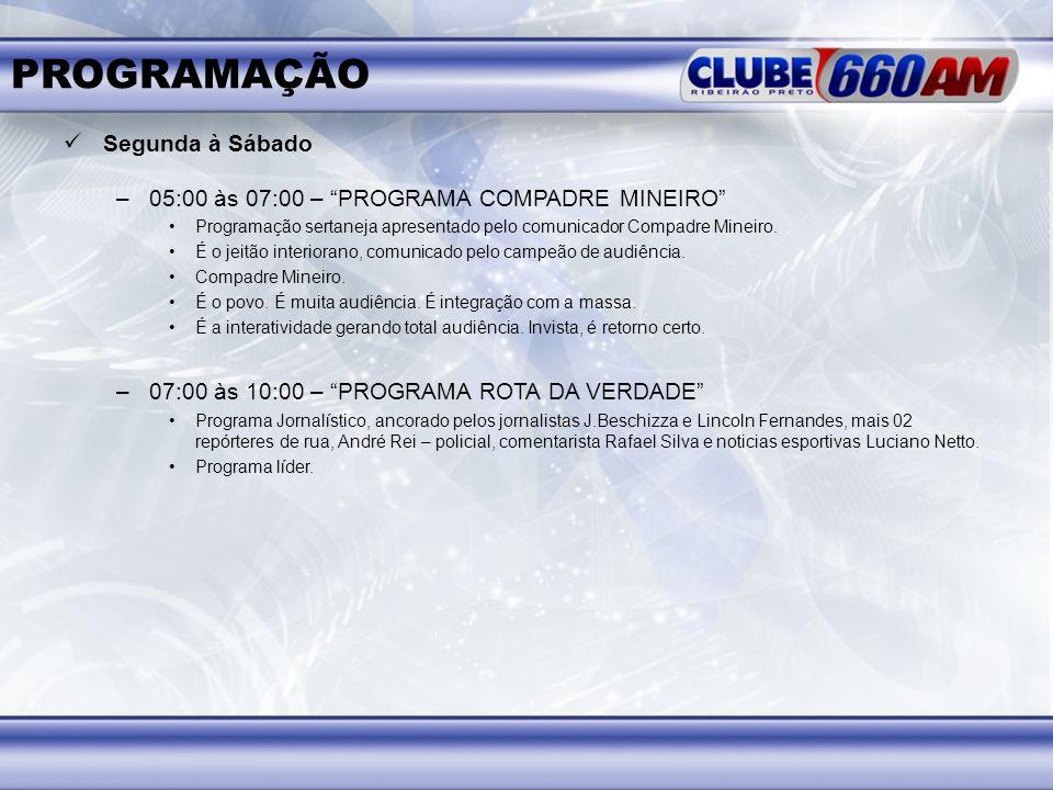 PROGRAMAÇÃO Segunda à Sábado –05:00 às 07:00 – PROGRAMA COMPADRE MINEIRO Programação sertaneja apresentado pelo comunicador Compadre Mineiro. É o jeit