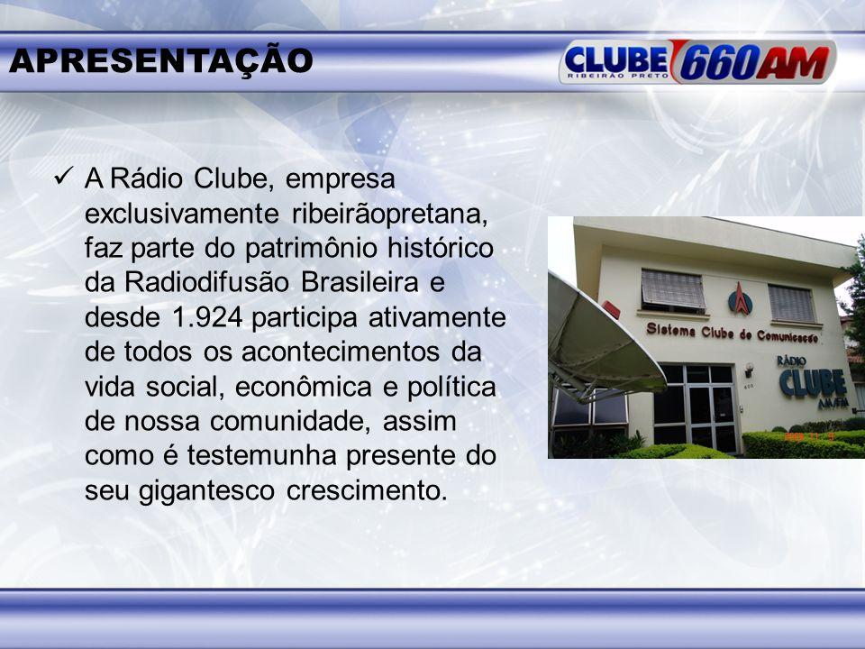 APRESENTAÇÃO A Rádio Clube, empresa exclusivamente ribeirãopretana, faz parte do patrimônio histórico da Radiodifusão Brasileira e desde 1.924 partici