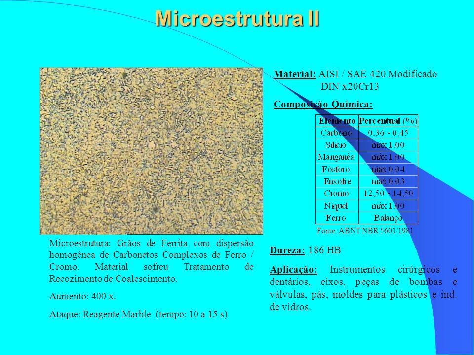 Microestrutura II Aplicação: Instrumentos cirúrgicos e dentários, eixos, peças de bombas e válvulas, pás, moldes para plásticos e ind. de vidros. Comp
