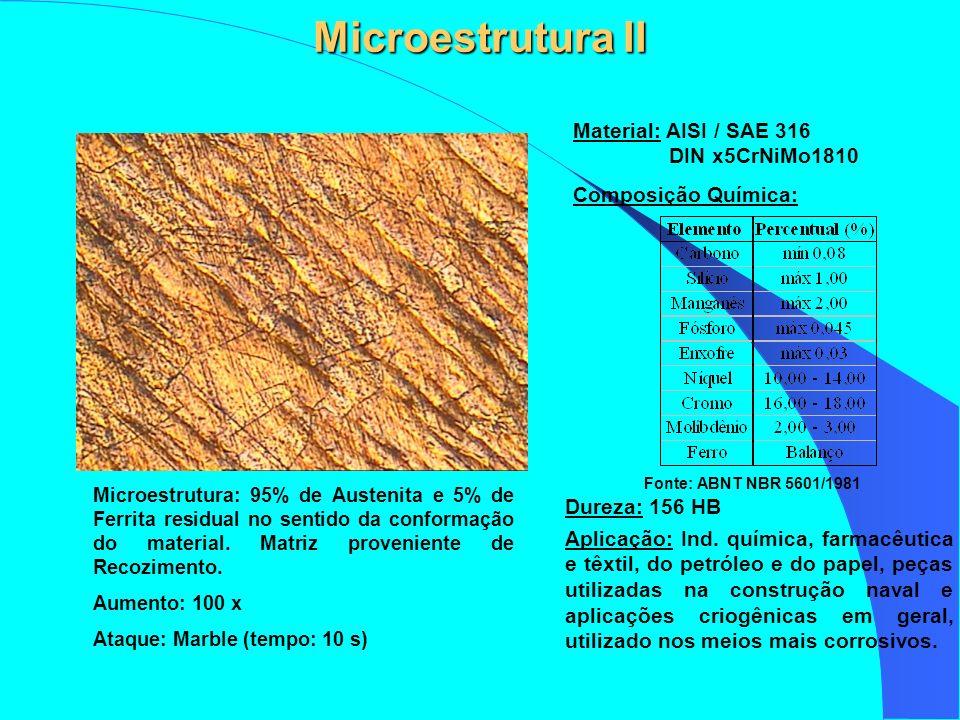 Microestrutura II Microestrutura: 95% de Austenita e 5% de Ferrita residual no sentido da conformação do material. Matriz proveniente de Recozimento.