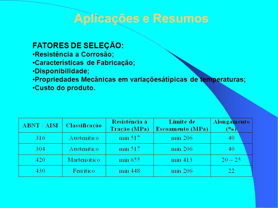 FATORES DE SELEÇÃO: Resistência a Corrosão; Características de Fabricação; Disponibilidade; Propriedades Mecânicas em variaçõesátípicas de temperatura