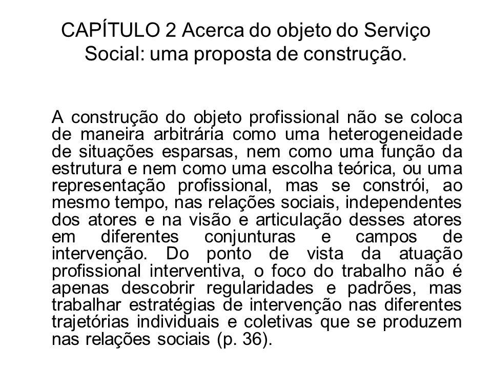 CAPÍTULO 2 Acerca do objeto do Serviço Social: uma proposta de construção. A construção do objeto profissional não se coloca de maneira arbitrária com