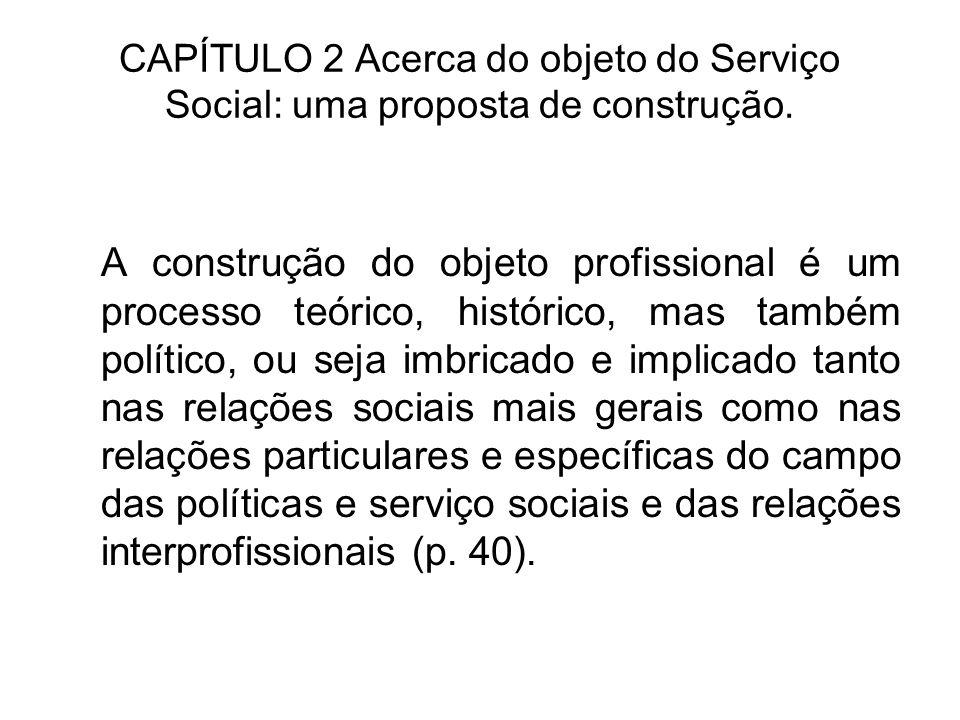 CAPÍTULO 2 Acerca do objeto do Serviço Social: uma proposta de construção. A construção do objeto profissional é um processo teórico, histórico, mas t