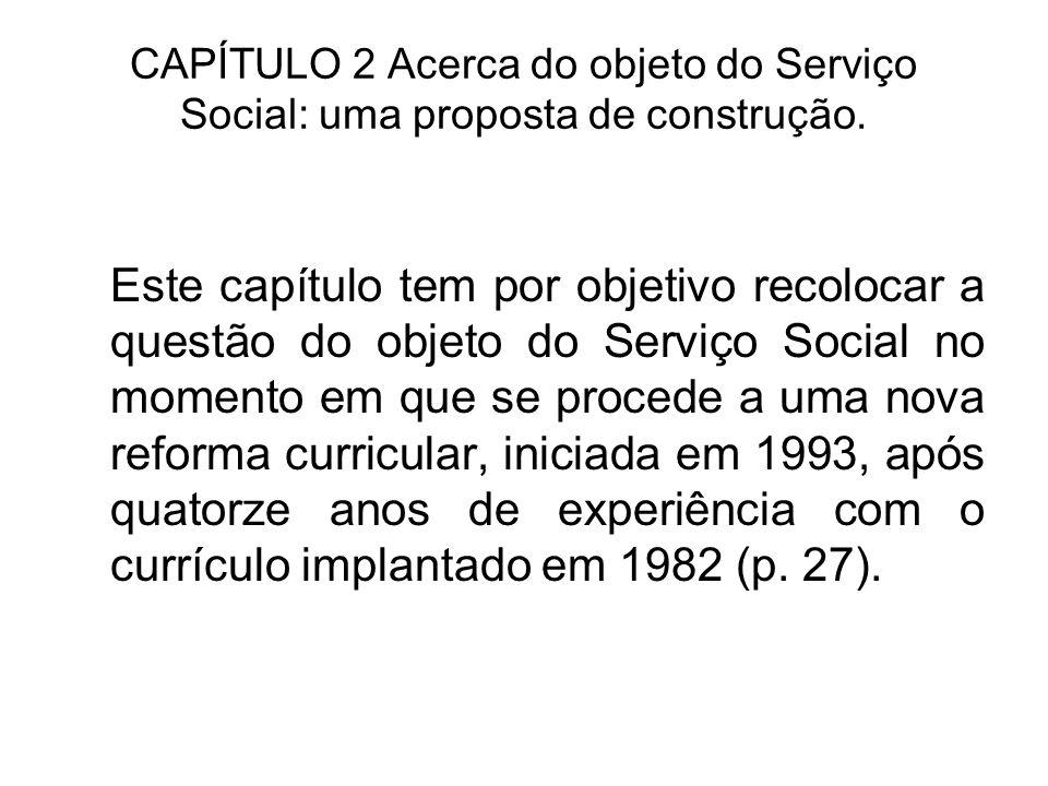 CAPÍTULO 2 Acerca do objeto do Serviço Social: uma proposta de construção. Este capítulo tem por objetivo recolocar a questão do objeto do Serviço Soc