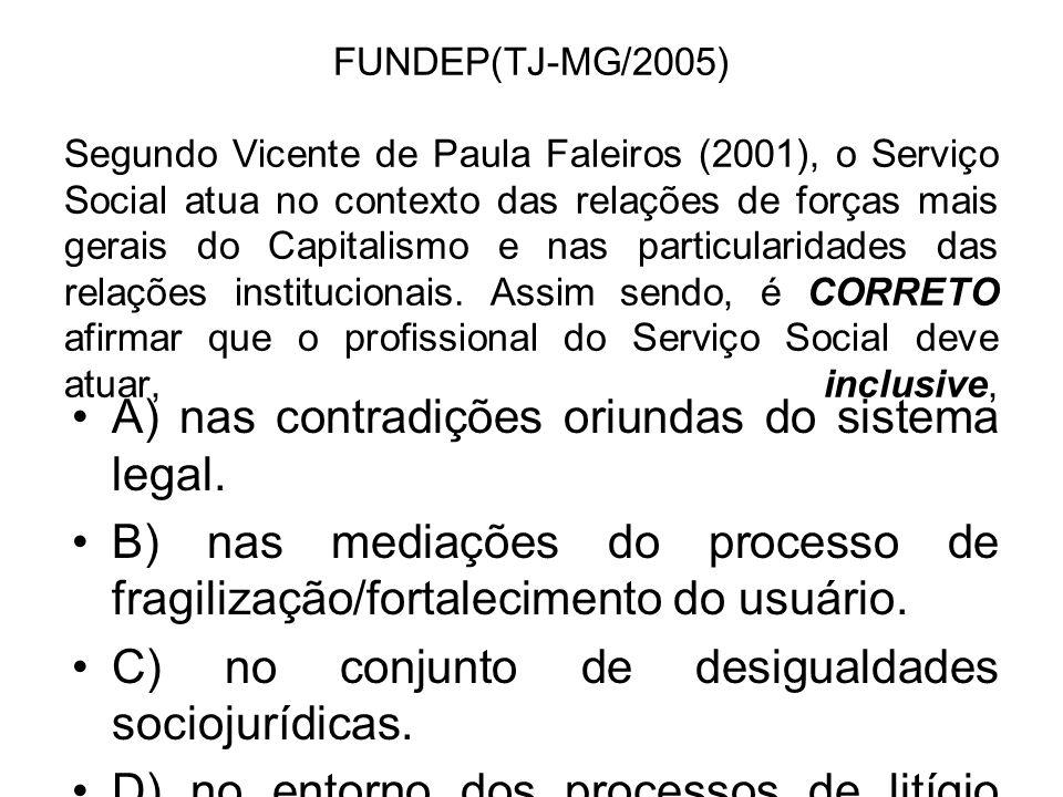 FUNDEP(TJ-MG/2005) Segundo Vicente de Paula Faleiros (2001), o Serviço Social atua no contexto das relações de forças mais gerais do Capitalismo e nas