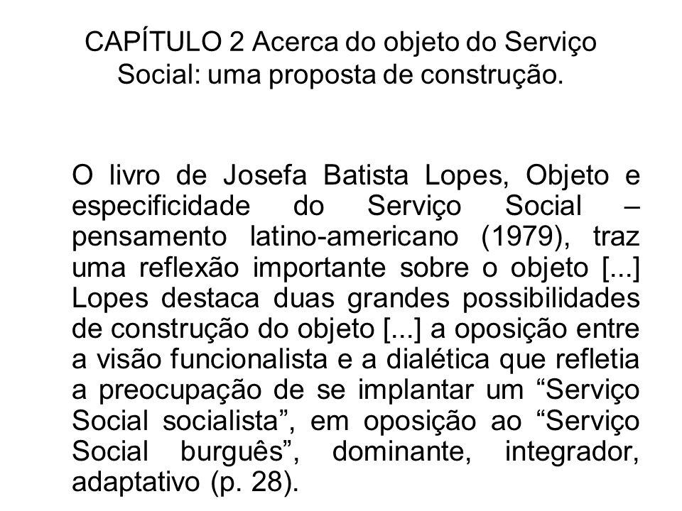 CAPÍTULO 2 Acerca do objeto do Serviço Social: uma proposta de construção. O livro de Josefa Batista Lopes, Objeto e especificidade do Serviço Social