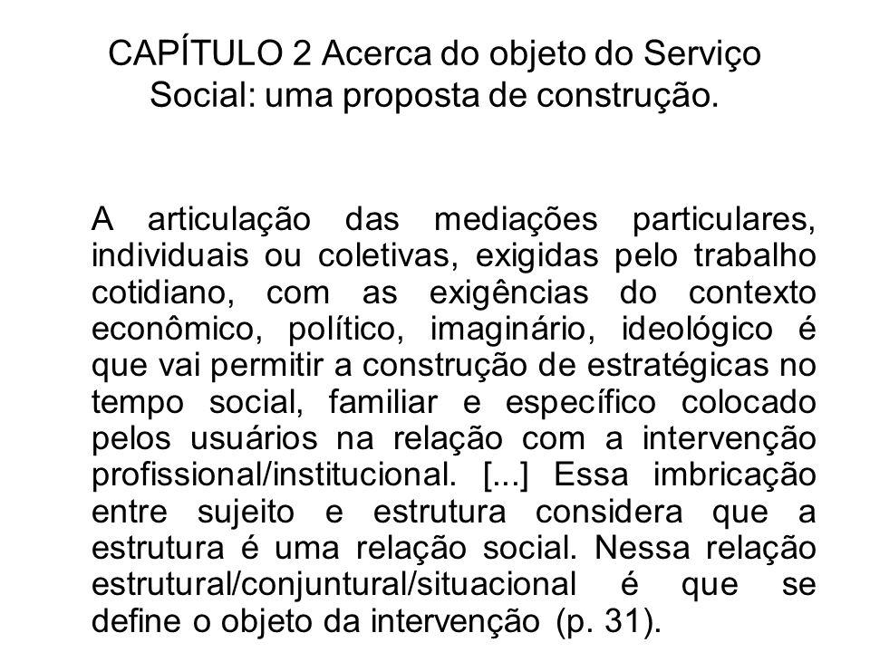 CAPÍTULO 2 Acerca do objeto do Serviço Social: uma proposta de construção. A articulação das mediações particulares, individuais ou coletivas, exigida