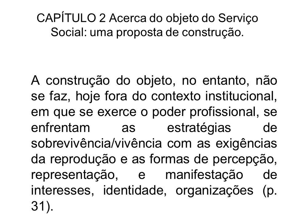 CAPÍTULO 2 Acerca do objeto do Serviço Social: uma proposta de construção. A construção do objeto, no entanto, não se faz, hoje fora do contexto insti