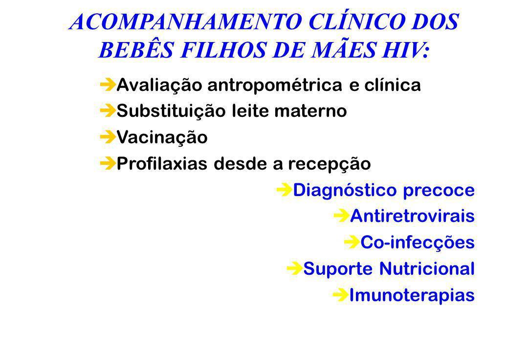 ACOMPANHAMENTO CLÍNICO DOS BEBÊS FILHOS DE MÃES HIV: èAvaliação antropométrica e clínica èSubstituição leite materno èVacinação èProfilaxias desde a r
