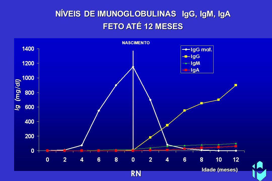 Idade (meses) Ig (mg/dl) RN NÍVEIS DE IMUNOGLOBULINAS IgG, IgM, IgA FETO ATÉ 12 MESES NASCIMENTO