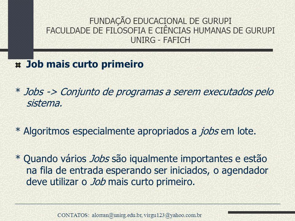 FUNDAÇÃO EDUCACIONAL DE GURUPI FACULDADE DE FILOSOFIA E CIÊNCIAS HUMANAS DE GURUPI UNIRG - FAFICH Job mais curto primeiro * Jobs -> Conjunto de progra