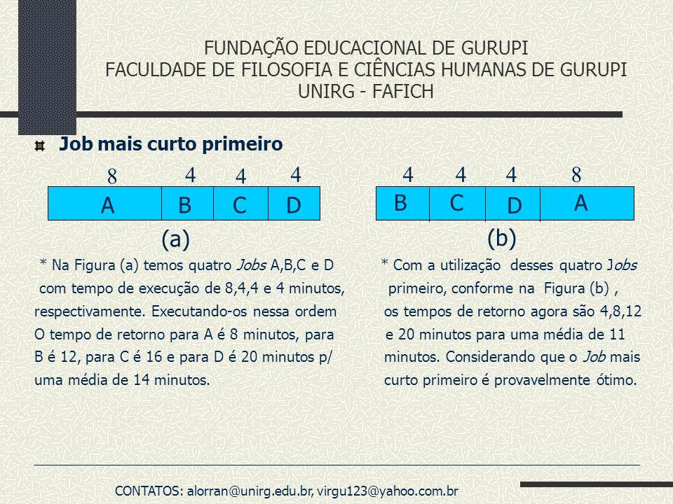 FUNDAÇÃO EDUCACIONAL DE GURUPI FACULDADE DE FILOSOFIA E CIÊNCIAS HUMANAS DE GURUPI UNIRG - FAFICH Job mais curto primeiro * Na Figura (a) temos quatro