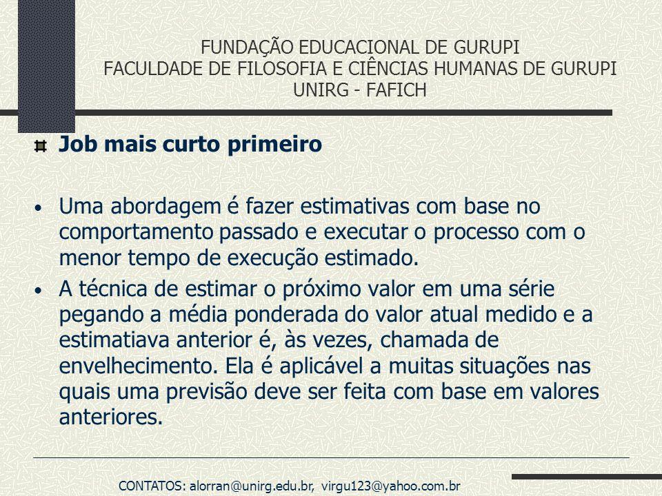 FUNDAÇÃO EDUCACIONAL DE GURUPI FACULDADE DE FILOSOFIA E CIÊNCIAS HUMANAS DE GURUPI UNIRG - FAFICH Job mais curto primeiro Uma abordagem é fazer estima