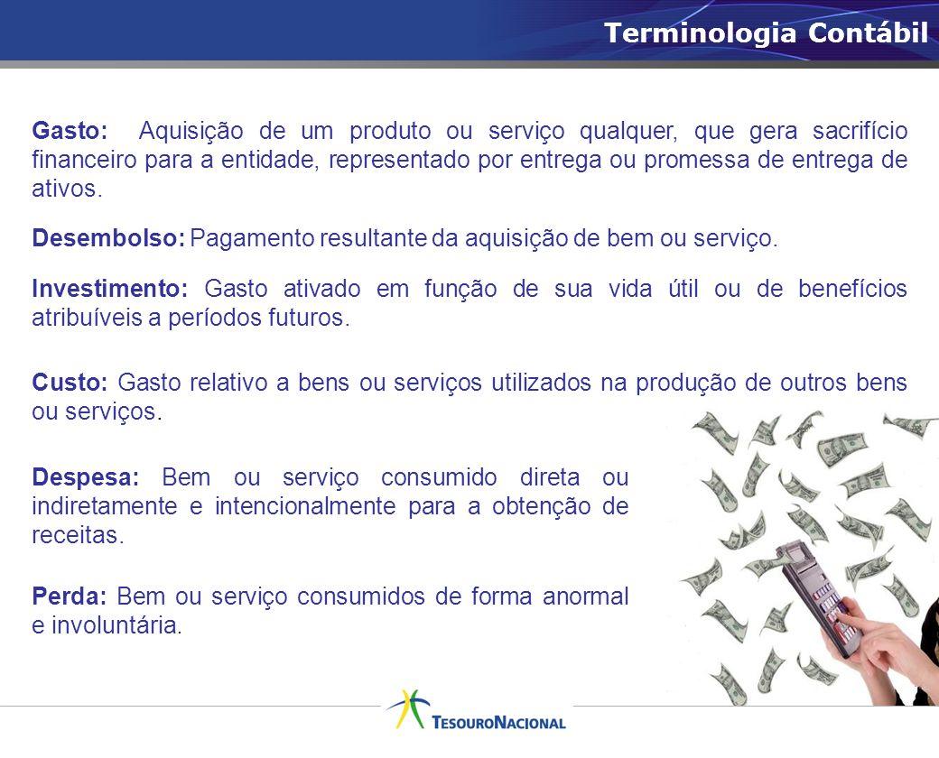 Terminologia Contábil Gasto: Aquisição de um produto ou serviço qualquer, que gera sacrifício financeiro para a entidade, representado por entrega ou