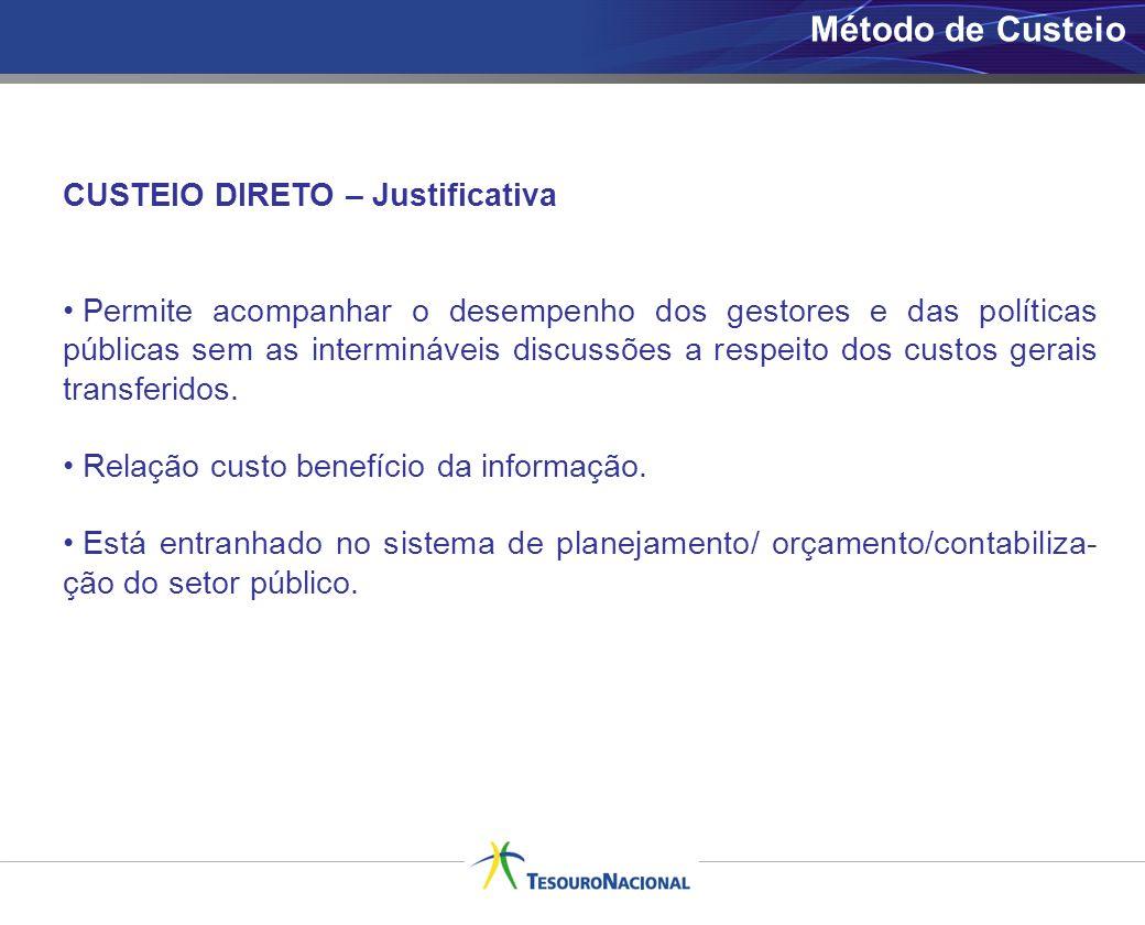 Método de Custeio CUSTEIO DIRETO – Justificativa Permite acompanhar o desempenho dos gestores e das políticas públicas sem as intermináveis discussões