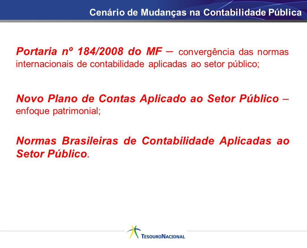 Cenário de Mudanças na Contabilidade Pública Portaria nº 184/2008 do MF – convergência das normas internacionais de contabilidade aplicadas ao setor p