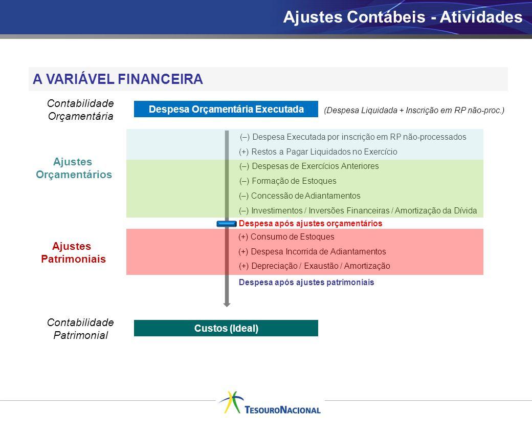 A VARIÁVEL FINANCEIRA Despesa Orçamentária Executada Custos (Ideal) (–) Despesa Executada por inscrição em RP não-processados Contabilidade Orçamentár