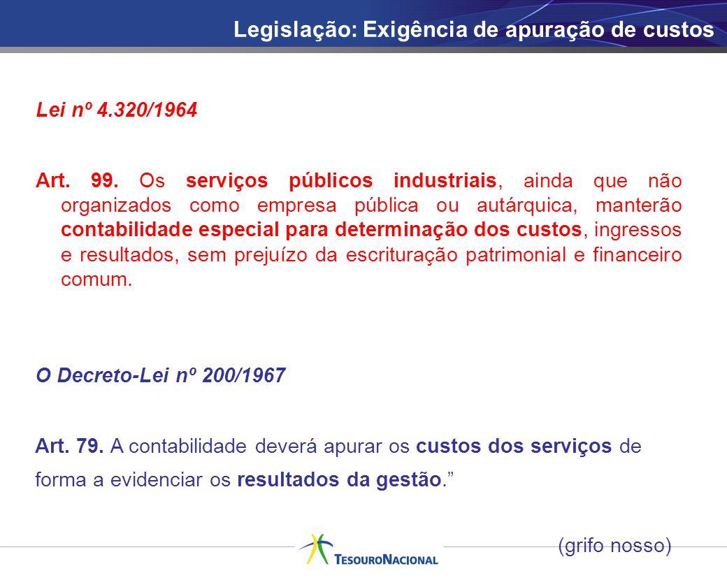Legislação: Exigência de apuração de custos O Decreto-Lei nº 200/1967 Art. 79. A contabilidade deverá apurar os custos dos serviços de forma a evidenc