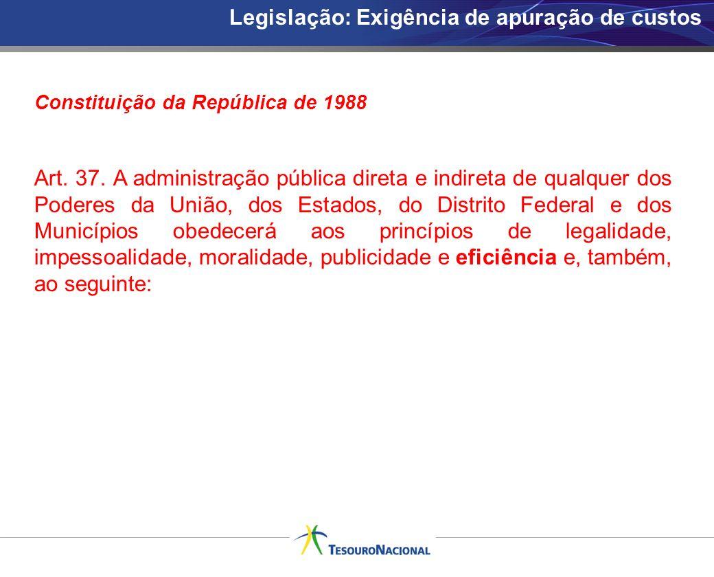 Legislação: Exigência de apuração de custos Constituição da República de 1988 Art. 37. A administração pública direta e indireta de qualquer dos Poder