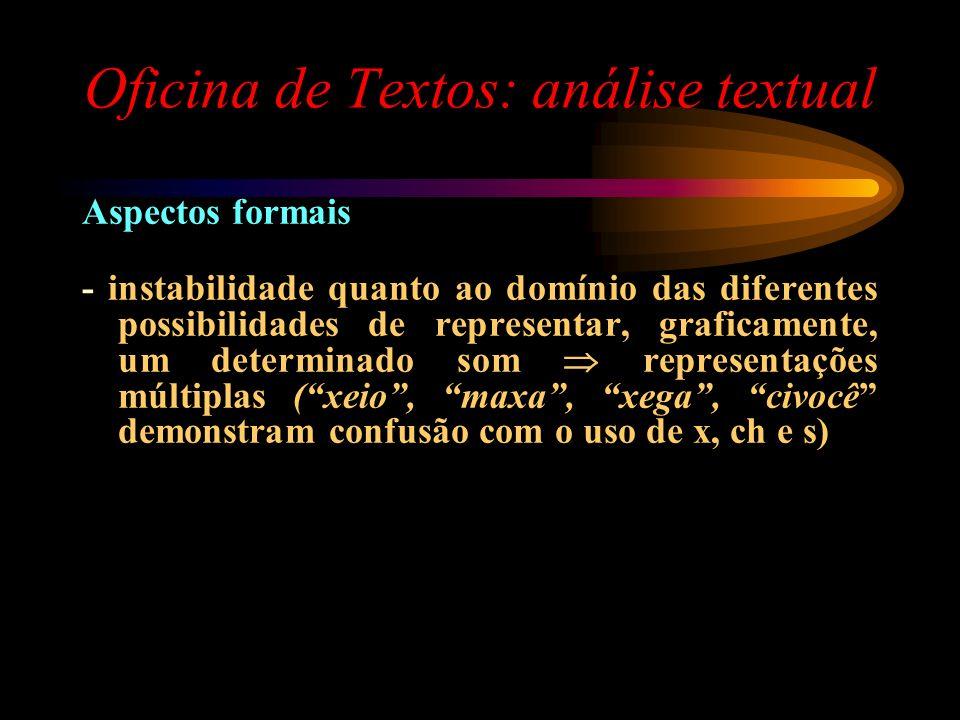 Oficina de Textos: análise textual Aspectos formais - instabilidade quanto ao domínio das diferentes possibilidades de representar, graficamente, um d