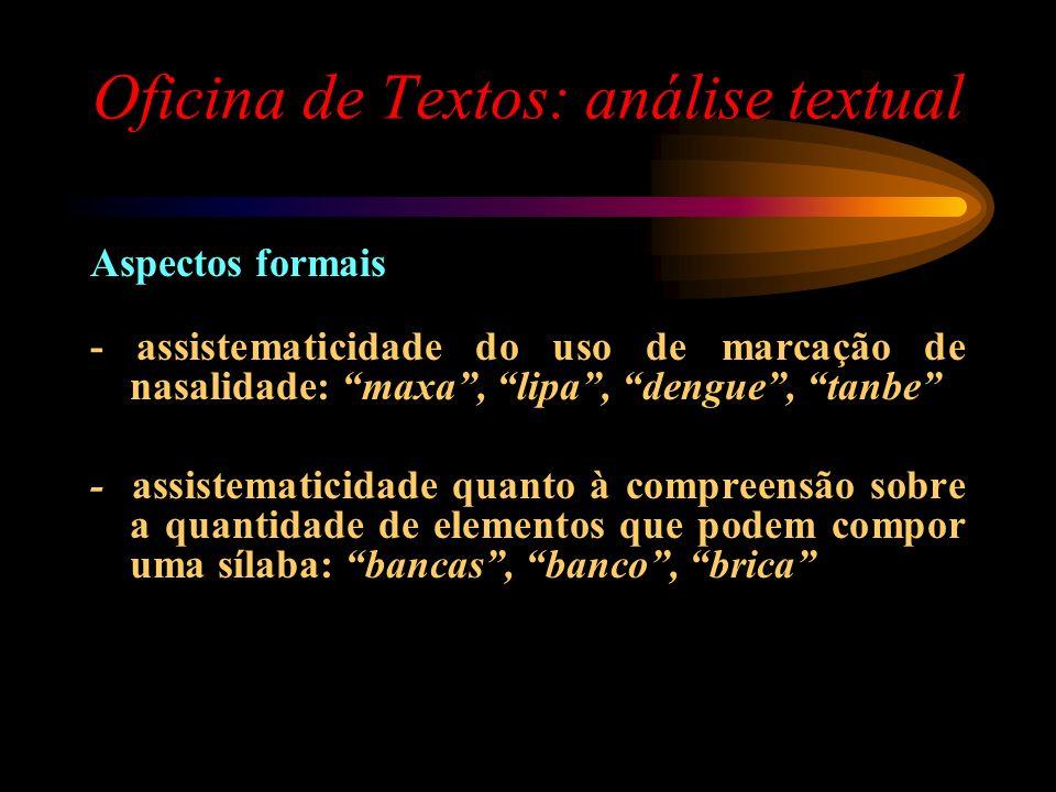 Oficina de Textos: análise textual Aspectos formais - assistematicidade do uso de marcação de nasalidade: maxa, lipa, dengue, tanbe - assistematicidad