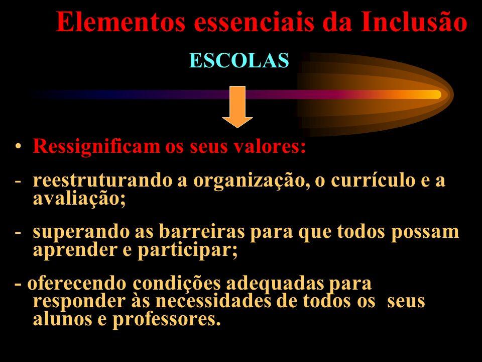 Elementos essenciais da Inclusão ESCOLAS Ressignificam os seus valores: -reestruturando a organização, o currículo e a avaliação; -superando as barrei