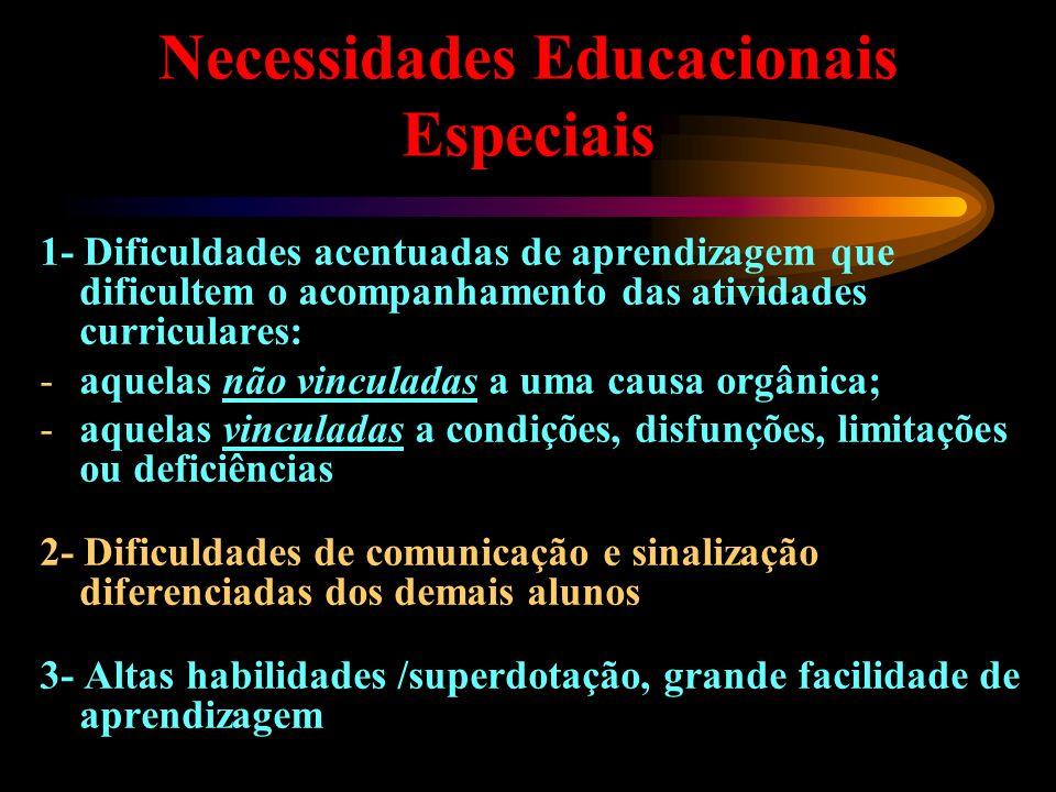 Necessidades Educacionais Especiais 1- Dificuldades acentuadas de aprendizagem que dificultem o acompanhamento das atividades curriculares: -aquelas n